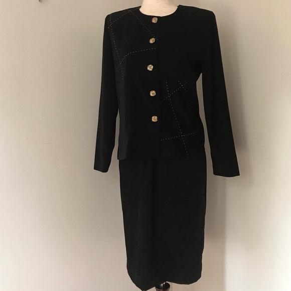 Leslie Fay Jackets & Blazers - Vintage Leslie Fay Black Suede Skirt Suit
